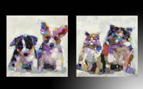 Set de cuadros de pared oleo gatos y perros