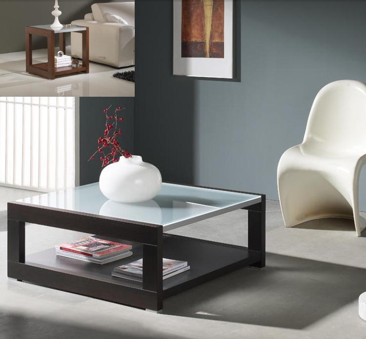 Mesa baja cristal y madera alta calidad for Mesas de salon de cristal
