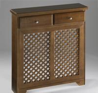 Cubreradiador de madera con celosía y cajones. - Cubreradiador de madera con celosía y cajones.