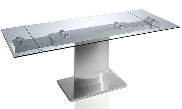 Mesa de comedor 2 extensibles y cristal templado - Mesas comedor cristal y acero ...