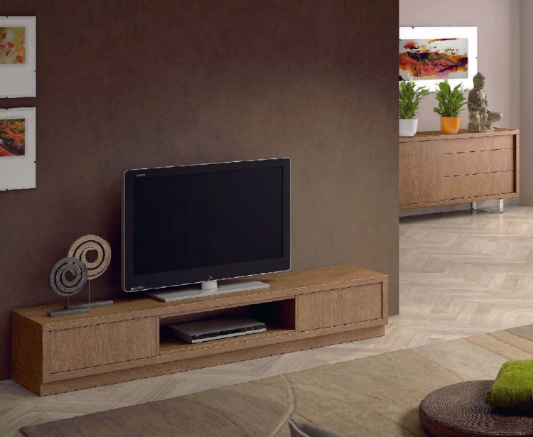 Mesa baja tv madera caceres for Muebles de diseno moderno para tv