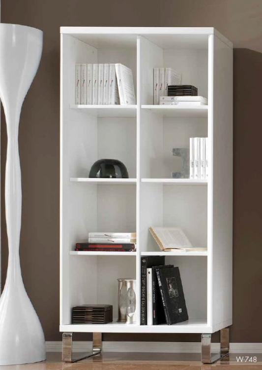 Estanteria moderna blanca madera maciza cadiz for Estanteria madera blanca