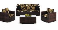 Set de sofá de exterior 3 plazas y dos sillones, mesa