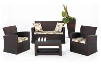 Set de sofá de exterior 2 plazas y dos sillones, mesa, cojines modelo DANTE