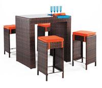 Set de taburetes, mesa y cojines modelo DELFIN