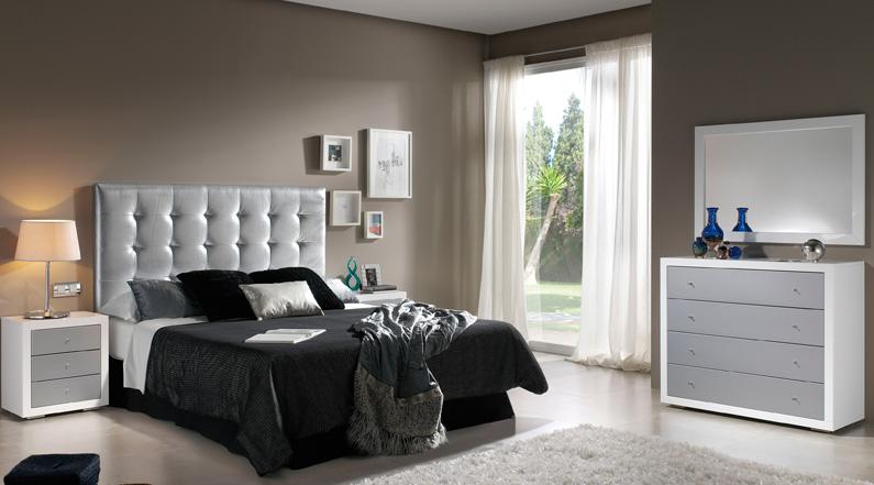 Cabecero polipiel blanco o plata cabeceros camas y for Dormitorio wengue y plata