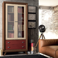 Vitrina Vintage V103 - Vitrina  2 puertas grandes, 2 cajones Vintage, fabricado en madera de alta calidad, excelentes detalles.