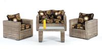 Set de sofá de exterior 2 ó 3 plazas y sillones, mesa, cojines modelo EROS
