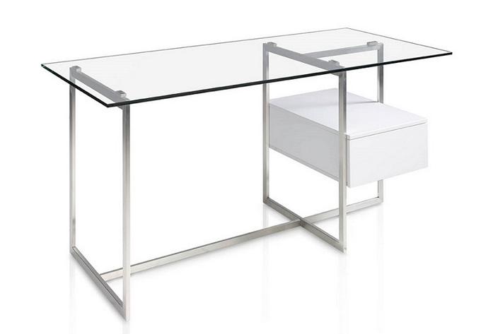 Mesa escritorio acero cristal moderna lacada car for Mesa escritorio moderna