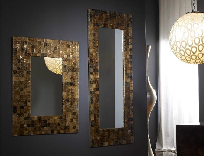 Espejo dorado rectangular de nacar for Espejos rectangulares plateados