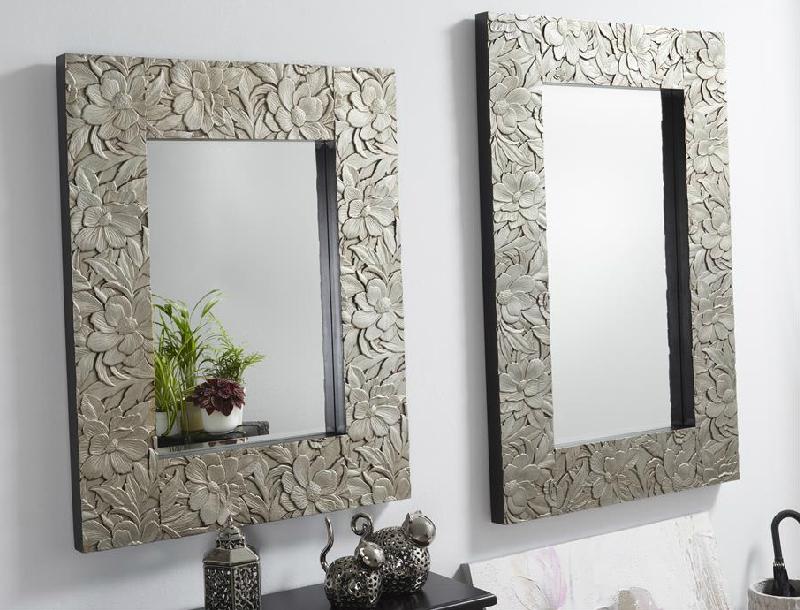 Espejos dorados o plata de madera tallada for Espejo grande blanco