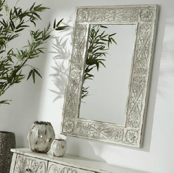 Espejo de madera tallada mia home for Espejos rectangulares plateados