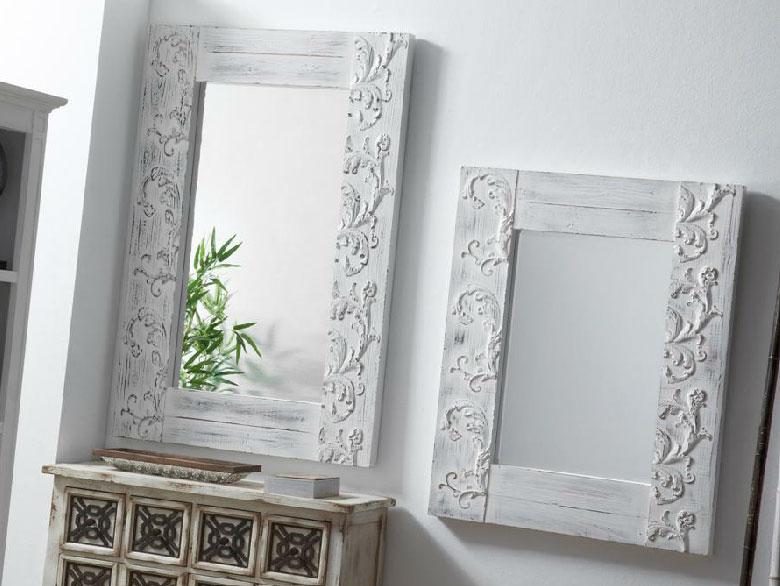 Espejo madera natural tallada for Espejo grande blanco