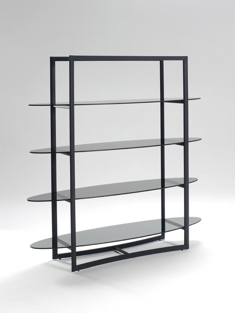 Estanteria oval de cristal estanter as muebles de - Estanterias de cristal ...