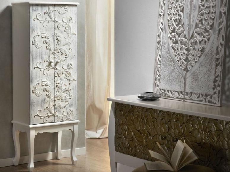 Mueble auxiliar de madera tallada - Armario blanco pequeno ...