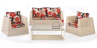 Set de sofá de exterior 2 plazas y sillones, mesa, cojines modelo FROS