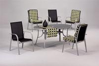 Set sillas y mesa de acero modelo GANGES