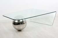 Mesa de centro moderna de cristal - Mesa de centro con dise�o moderno. Cristal y acero inoxidable