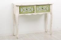 Consola blanca de madera vintage - Consola de madera blanca con dos cajones verdes