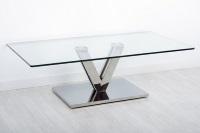 Mesa de centro de cristal - Mesa de centro con cuerpo de acero inoxidable y tablero de cristal