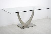 Mesa de comedor cristal - Mesa de comedor con estructura de acero inoxidable y tablero de cristal