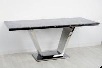 Mesa de comedor m�rmol negro - Mesa de comedor con estructura de acero y tablero de m�rmol negro