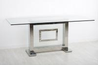 Mesa de comedor moderna - Mesa de comedor con estructura de acero y tablero cristal