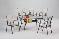 Set sillas y mesa de acero modelo GARONA
