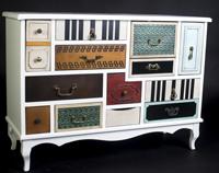 COMODA ESTILO VINTAGE - Cómodas vintage cajones en colores en madera de pino y MDF.