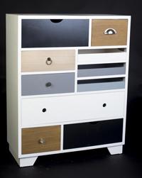 COMODA ESTILO VINTAGE 10C - COMODA ESTILO VINTAGE 10C color blanco con cajones en madera de pino y MDF.