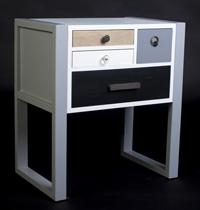MESITA ESTILO VINTAGE  - MESITA ESTILO VINTAGE color blanco con cajones colores en madera de pino y MDF.