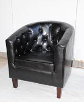 Sill�n de polipiel negro - Medidas: 70 x 66 x 62 cm