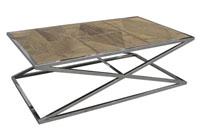 Mesa de centro acero inoxidable - Con madera de roble