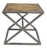 Mesa de centro acero inoxidable 2 - Tablero de madera de roble