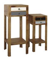 Set 2 pedestales de madera 3 - Acabado multicolor