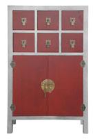 Recibidor de madera �tnico - Acabado en plata y rojo