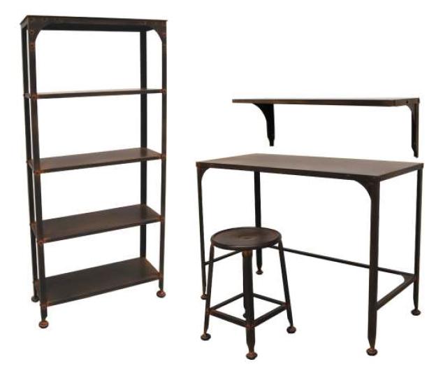 Juego de muebles de forja estilo industrial for Consola estilo industrial
