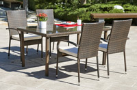 Mesa y sillones rattan para exteriores 3 - Disponibles en 3 sets distintos, sillones apilables