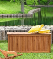 BAUL DE MADERA TROPICAL PARA EXTERIOR - Baul de madera para exterior. Caja de cojines para el jardín.
