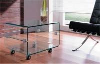 Mesa de Tv de cristal toda con ruedas - Mesa de tv de cristal con ruedas