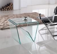 Mesa Hola de cristal lateral - Mesa toda de cristal con revistero Mesa auxiliar