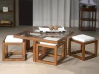 Juego mesa + 4 taburetes madera Colonial