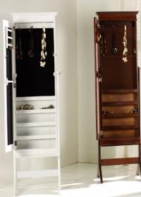 Joyero-espejo vestidor - Mueble fabricado en madera y lacado en blanco y nogal.