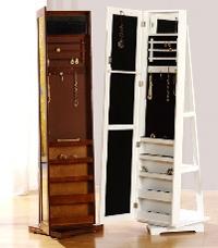 Joyero-espejo vestidor - Mueble fabricado en madera y lacado en blanco y nogal. La base gira 360º.