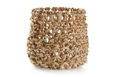 Cesto de abaca natural - Cesto decorativo color tostado