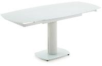 Mesa extensible de cristal y acero - Mesa extensible con base de cristal, estructura de acero y pi�s tapizados