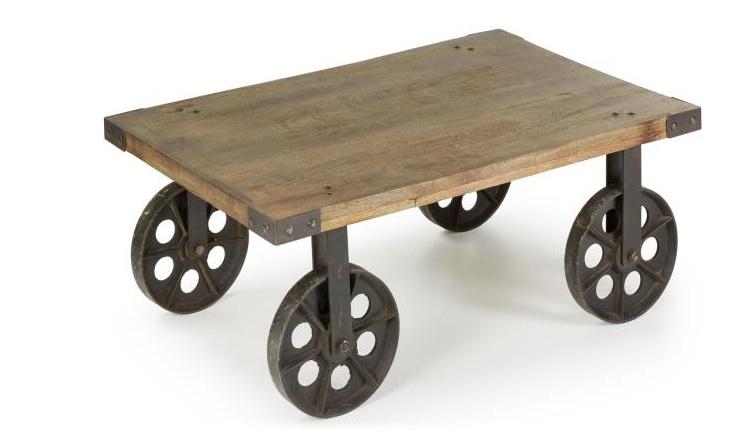 Mia home mesa auxiliar r stica - Mesa auxiliar con ruedas ...