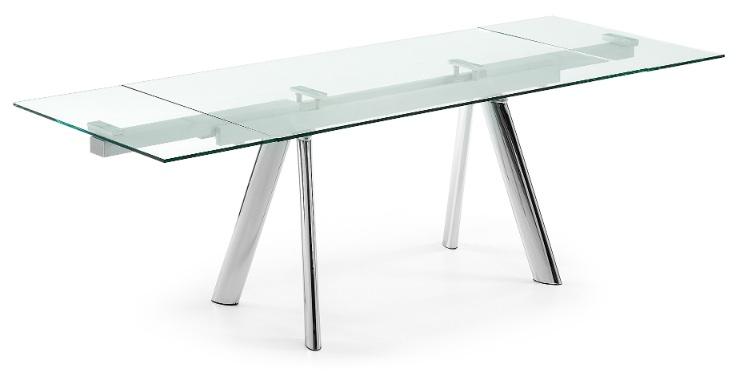 Mia home mesa extensible - Mesas de cristal y acero ...