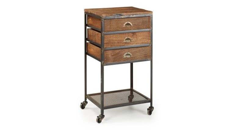 Mia home mesa auxiliar de madera for Mesa auxiliar de cocina con ruedas