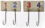 Perchero con números - Set de 2 percheros de pared metálicos